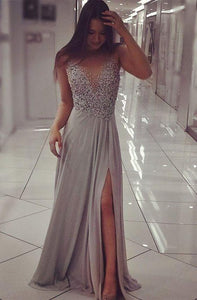 charming beaded gray side slit long prom dress, PD9979