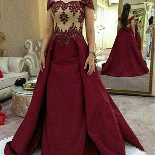 off shoulder long A-line formal charming lace appliques sweet 16 prom dress, PD813