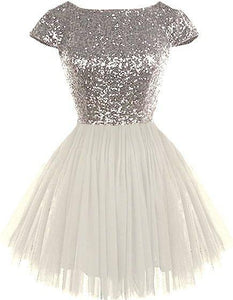 sequin short sleeves A-line cute short junior 2018 cheap sparkle homecoming dress, BD3891