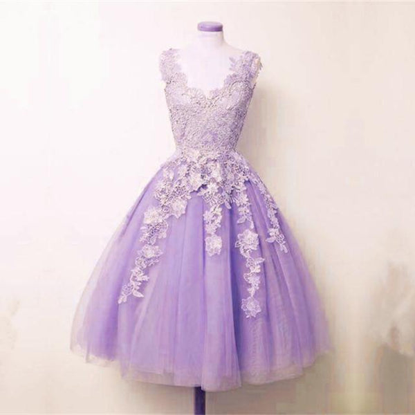 lilac tulle lace appliques A-line short homecoming dress, HD645