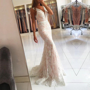 charming white lace v-neck mermaid formal long prom dress, PD7088