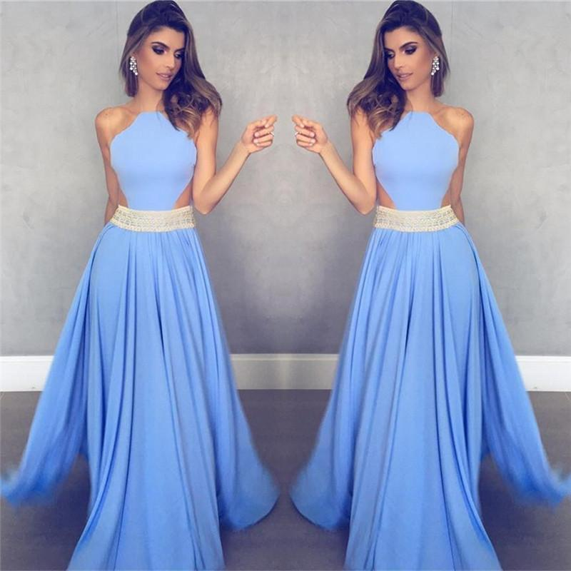 charming 2018 sleeveless blue A-line satin long prom dress, PD7086