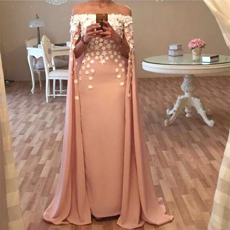 b602deff64ef Long Floor Length Designer Cape Evening Dresses Appliques Flowers Glamorous  Prom Dress, PD2406 ...