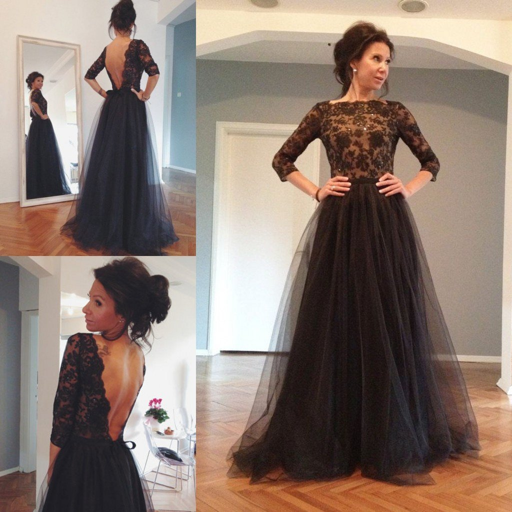 black prom dress, long prom dress, long sleeves prom dress, lace prom dress, open back evening dress, BD520