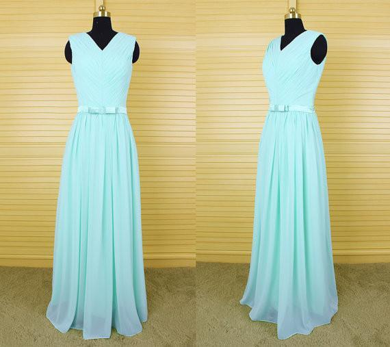 2aff6439f25a mint green v-neck long bridesmaid dresses, chiffon bridesmaid dress,  BD46576 ...