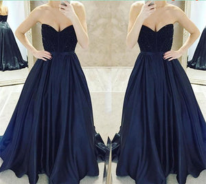 long prom dress, A-line prom dress, strapless prom dress, charming evening gown, BD24