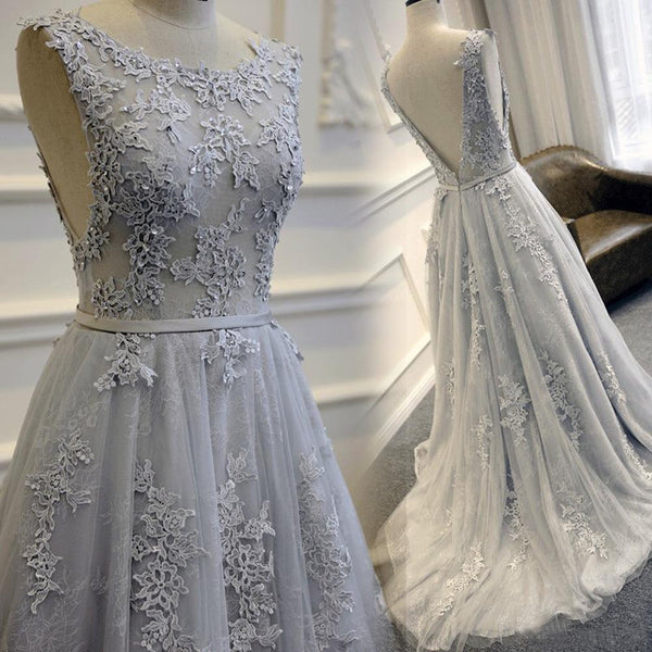 gray prom dress, long prom dress, lace applique prom dress, charming prom dress, A-line evening gown 2017, BD276