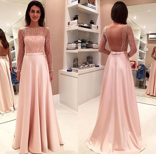 blush pink long sleeves backless 2018 long prom dress, PD8629