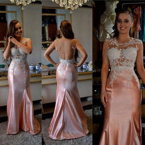 elegant open back mermaid rose gold charming prom dress, PD3487