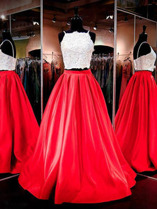 Pretty Prom Dresses,Two Piece Prom Dresses,Spaghetti Straps Prom Dresses