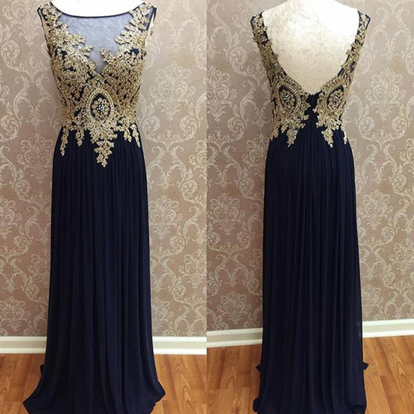 gold lace appliques prom dress,long evening dress,formal gowns,bridesmaid dress,prom dress