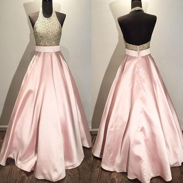 halter prom dress open back,beaded ball gowns,women's formal evening gown dresses