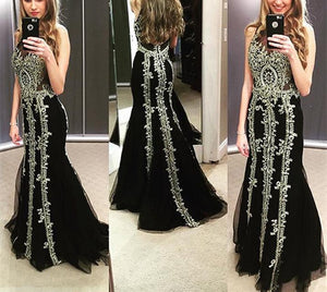 long black mermaid prom dresses,lace appliques prom gowns,prom dress