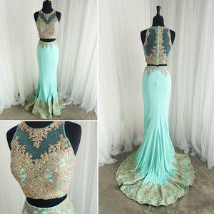 Gold Lace Appliques Mermaid Formal Evening Gowns Elegant Two Piece Prom Dresses, PD2719