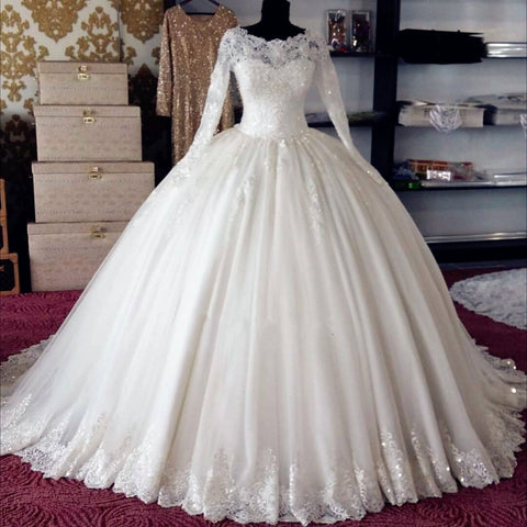 modest A-line white long sleeves charming wedding dress, WD100