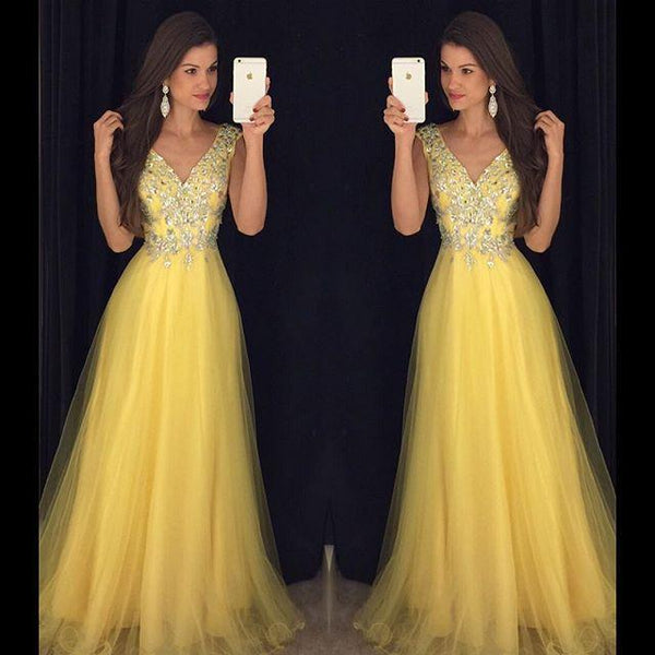 yellow beaded tulle v-neck charming 2018 long prom dress, PD8627