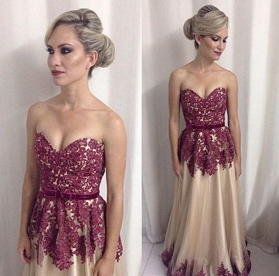 sweetheart lace appliques charming tulle A-line long prom dress, PD7177