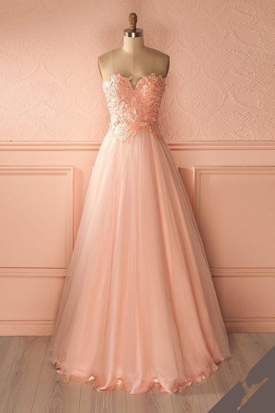 2018 pink tulle A-line long prom dress, PD7657