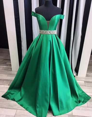 off shoulder long A-line satin 2018 elegant formal prom dress, PD3012