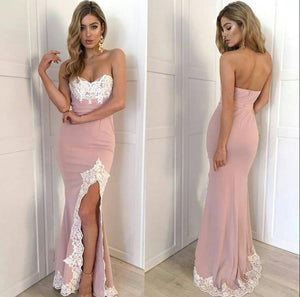 dusty pink mermaid side slit sweetheart lace appliques long prom dress, PD1481