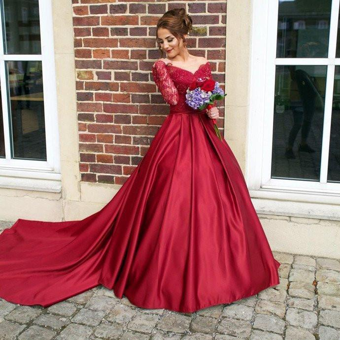 red prom dress, long prom dress, A-line prom dress, lace sleeves evening gown, prom dress with train, BD387