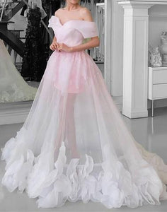 pink see through long prom dress off the shoulder a-line formal evening dress