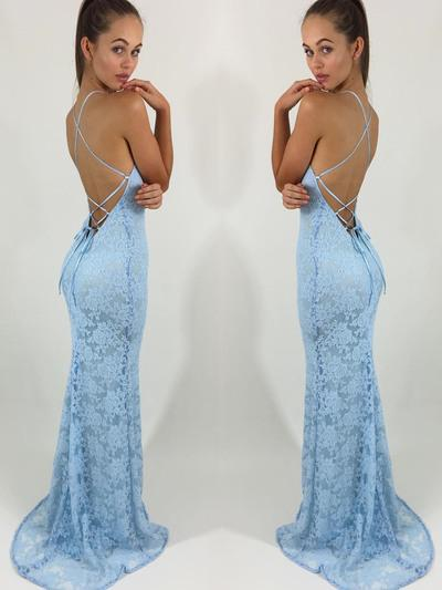 sexy backless mermaid prom dress lace sleeveless long formal evening dress,HS304