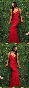 sexy mermaid prom dress gorgeous lace v-neck prom gowns spaghetti straps evening dress,HS097