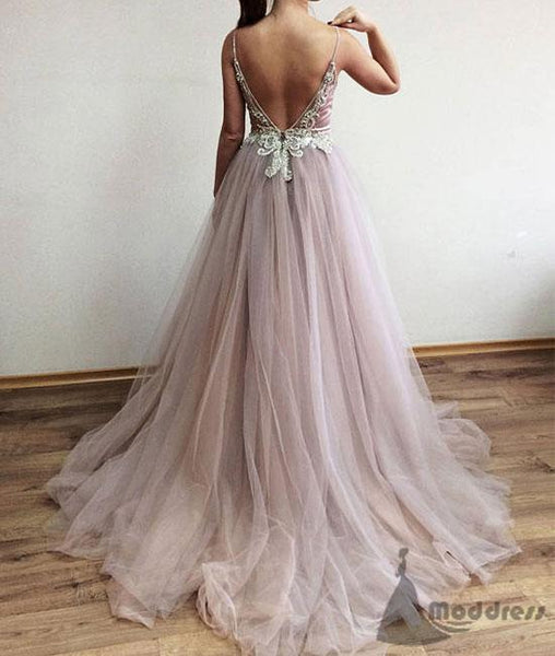 sexy v-neck long prom dress beaded sleeveless evening dress with high slit,HS337