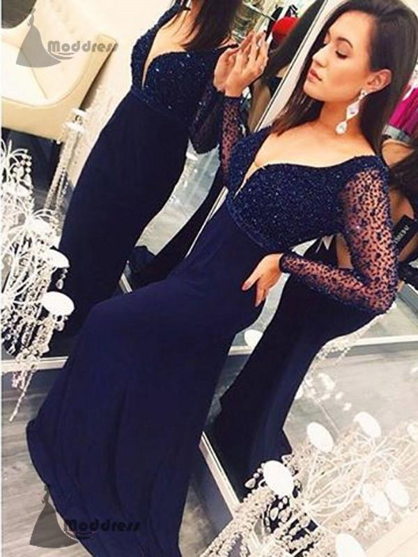 sexy v-neck long prom dress beading backless long sleeve column evening dress,HS365