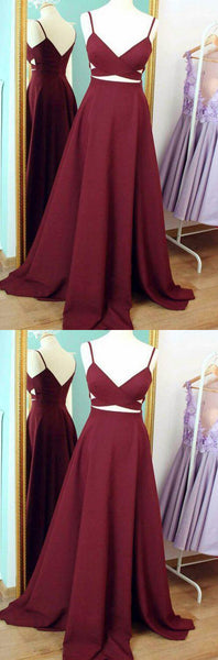 spaghetti straps homecoming dress sleeveless a-line satin long prom dress