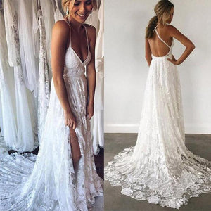 a43126c63c3 Beach spaghetti straps prom dress v-neck evening dress high slit lace white  wedding dress