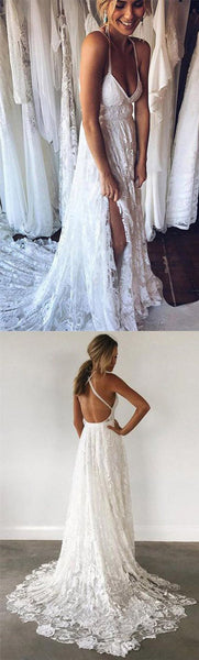 Beach spaghetti straps prom dress v-neck evening dress high slit lace white wedding dress a-line bridal gowns,HS082