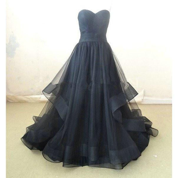 A Line prom dress, long Party Dress, tulle evening dress, sweetheart prom dress, black prom dress, BD390