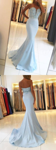 strapless mermaid prom dress beaded crystal evening dress,HS158