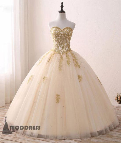 sweetheart Applique Wedding Dress Beading Ball Gowns Tulle Evening Dress,HS383