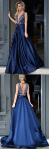 v-neck chiffon prom dress high slit evening dress satin beading prom gowns sweep train cocktail dress,HS053