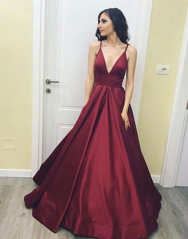 Spaghetti straps A-line burgundy satin long prom dress, PD5877