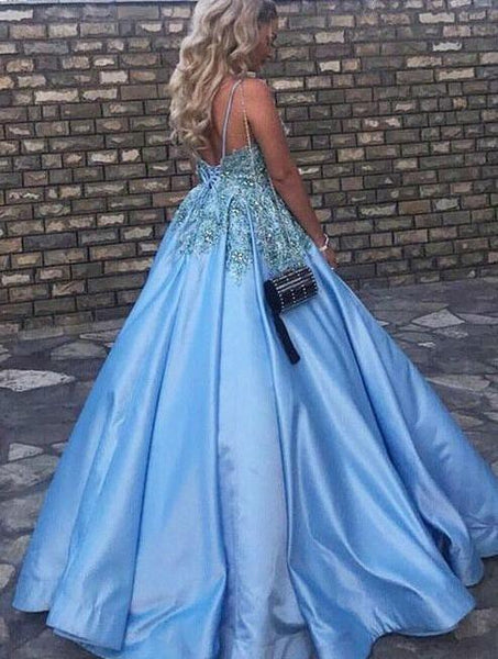 v-neck long prom dress backless beaded applique ball gowns formal evening dress,HS295