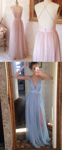 v-neck prom dress tulle sexy backless evening dress high slit prom gowns,HS096