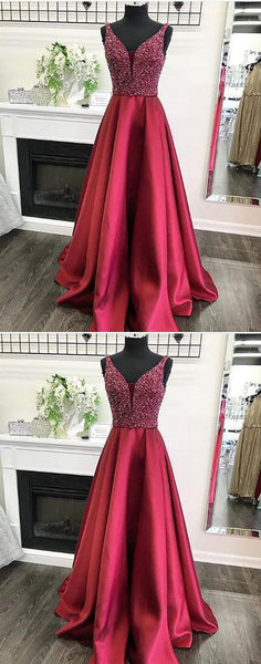 v neck long prom dress,sleeveless evening dress a-line prom gowns