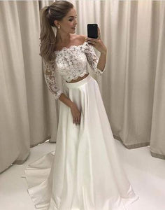 off shoulder two pieces white lace sleeves long prom dress, PD5880