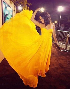 Simple yellow chiffon prom dress, bridesmaid dress,evening dress sweep train