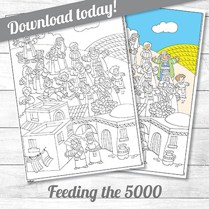 Feeding the Five Thousand<p>colouring poster