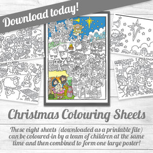 Downloadable Colouring Sheets <p> The Christmas Story in one poster