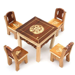 5pcs/set Vintage Wooden Table & Chairs - Antique Lovers