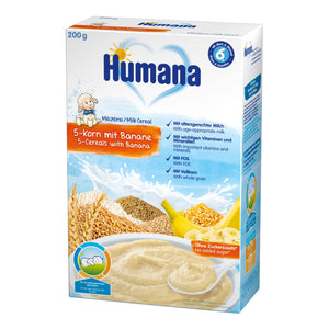 Cereale, Humana Cu 5 Cereale Si Banane, 200g, 6 Luni+ - Antique Lovers