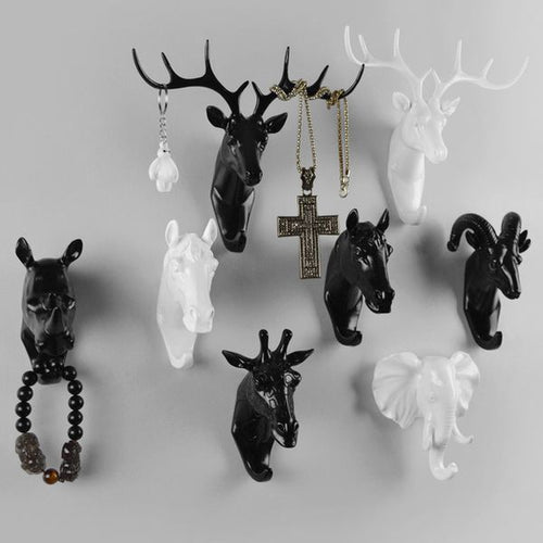Animal Head Hat Hooks Wall Decoration - Antique Lovers
