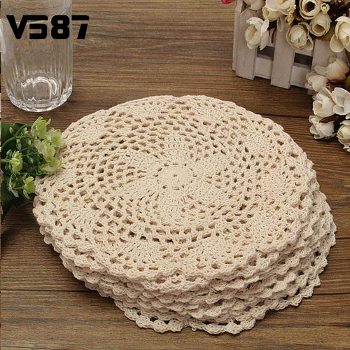 12Pcs Round Vintage Cotton Mat Hand Crocheted Lace Doilies Flower Coasters Lot Household Table Decorative Crafts Accessories - Antique Lovers