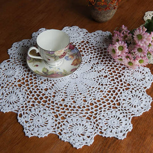 Cotton Mat Hand Crocheted Lace Doilies  Flower Shape Coasters Cup Mug Pads Home Coffee Shop Table Decoration Crafts - Antique Lovers